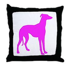 Pink Greyhound Silhouette Throw Pillow