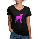Greyhound Womens V-Neck T-shirts (Dark)