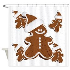 Holiday Gingerbread Man Shower Curtain