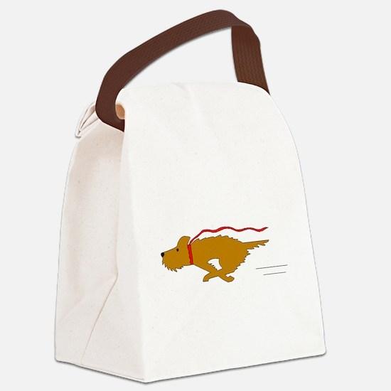 Dog Running Canvas Lunch Bag