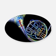 French Horn Oval Car Magnet
