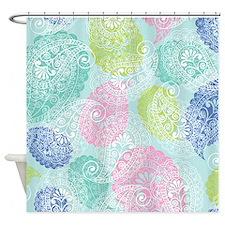 Paisley Aqua Print Shower Curtain