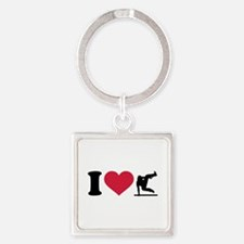 I love Parcouring Square Keychain