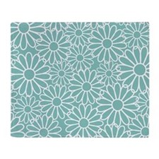 Flower Pattern Teal Throw Blanket
