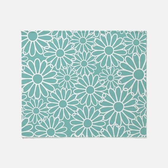 Flower Pattern Teal Throw Blanket