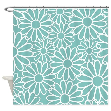 Flower Pattern Teal Shower Curtain By MainstreetHomewares2