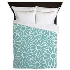 Flower Pattern Teal Queen Duvet