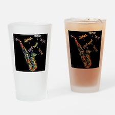 Sax on black Drinking Glass
