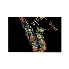 Sax on black Rectangle Magnet