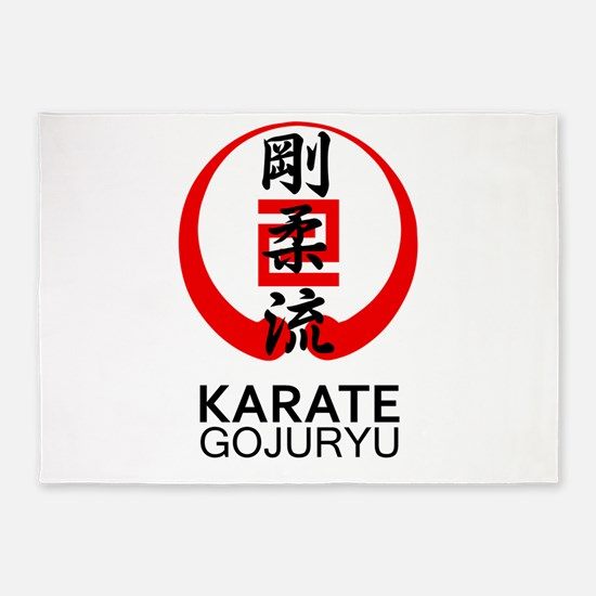 Gojuryu Karate Symbol and Kanji 5'x7'Area Rug