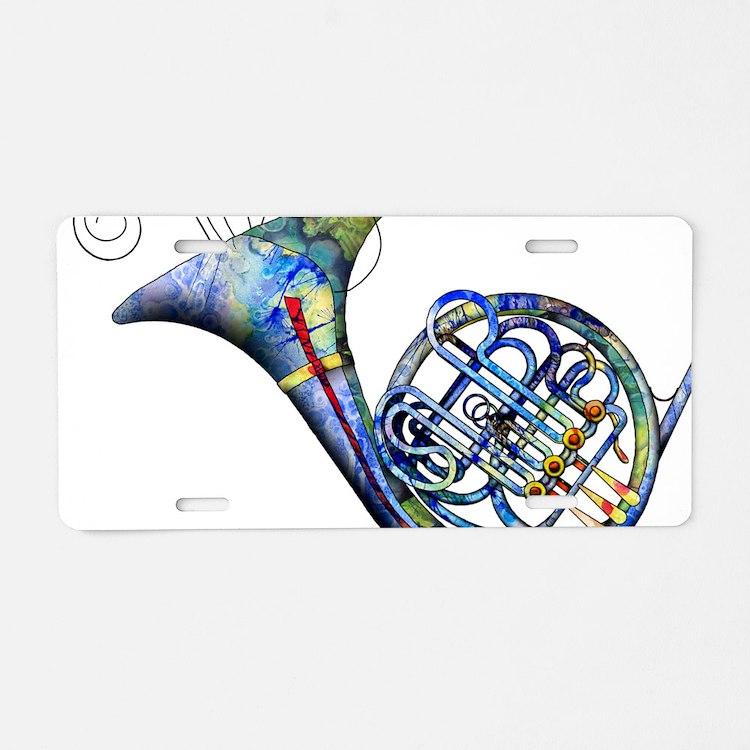 French Horn Aluminum License Plate