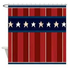 Patriotic Americana Stars Stripes Shower Curtain