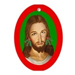 Jesus Holly Earrings Oval Ornament