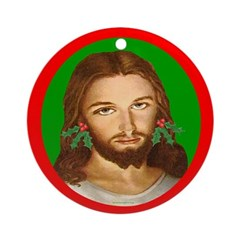 Jesus Holly Earrings Ornament (Round)