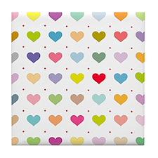 Tiny Colorful Hearts Tile Coaster