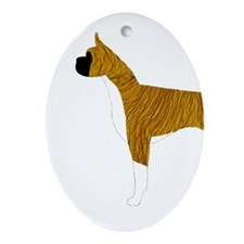 Flashy Brindle Boxer Oval Ornament