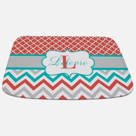 Coral Teal Chevron Quatrefoil Personalized Bathmat
