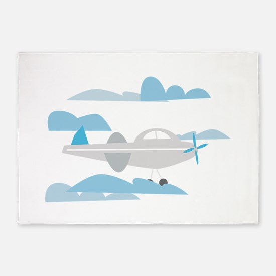 Airplane In Clouds 5'x7'Area Rug