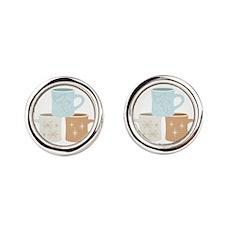 Coffee Mugs Round Cufflinks