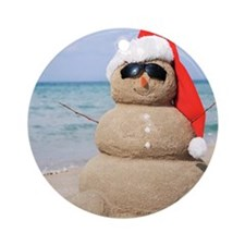 Beach Snowman Ornament (Round)