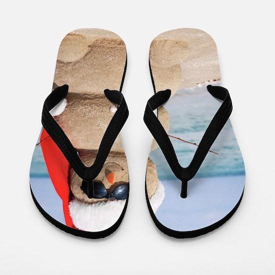 Beach Snowman Flip Flops