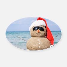 Beach Snowman Oval Car Magnet