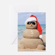 Beach Snowman Greeting Cards