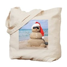 Beach Snowman Tote Bag