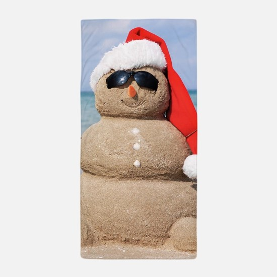 Beach Snowman Beach Towel