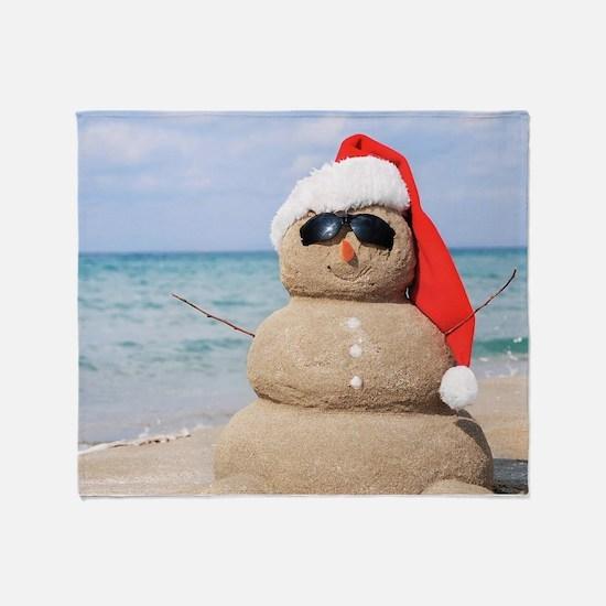 Beach Snowman Throw Blanket