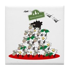 Funny Christmas Tree Sheep Tile Coaster