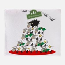 Funny Christmas Tree Sheep Throw Blanket