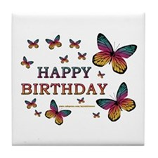 Butterfly Birthday Tile Coaster