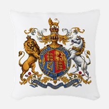 British Royal Coat of Arms Woven Throw Pillow
