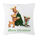 A VERY DEER CHRISTMAS Woven Throw Pillow