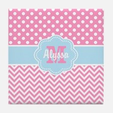 Pink Blue Dots Chevron Personalized Tile Coaster