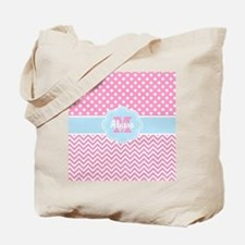 Pink Blue Dots Chevron Personalized Tote Bag