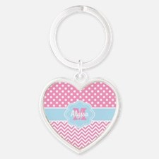 Pink Blue Dots Chevron Personalized Keychains