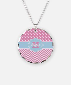 Pink Blue Dots Chevron Personalized Necklace