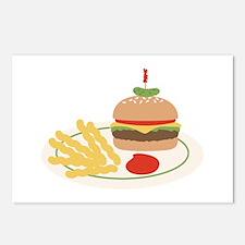 Dinner Hamburger Fries Postcards (Package of 8)