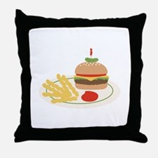 Dinner Hamburger Fries Throw Pillow