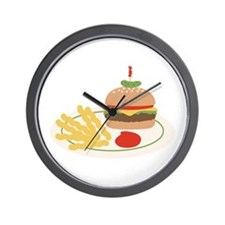 Dinner Hamburger Fries Wall Clock