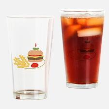Dinner Hamburger Fries Drinking Glass