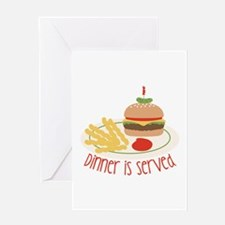 Dinner Is Served Greeting Cards