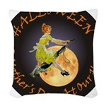 modern witch clock copy.png Woven Throw Pillow