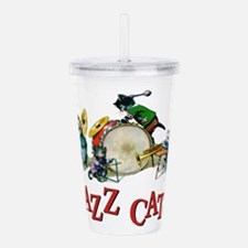 Jazz Cats RED.png Acrylic Double-wall Tumbler
