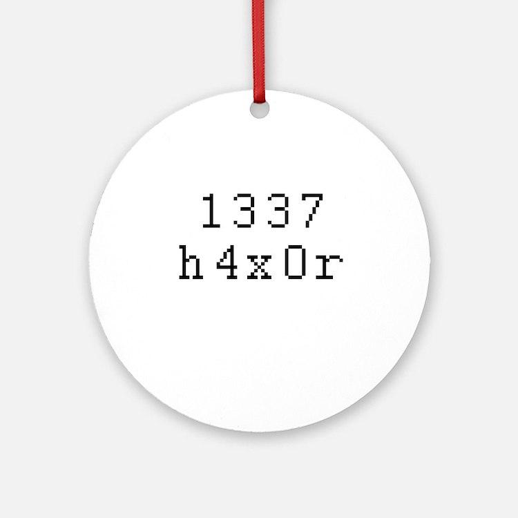 1337 h4x0r - Leet Hacker Ornament (Round)