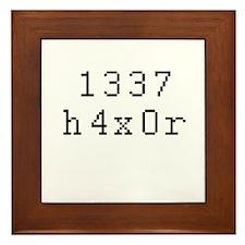 1337 h4x0r - Leet Hacker Framed Tile