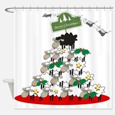 Funny Sheep Christmas Tree Shower Curtain