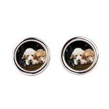 Standard Poodle Puppies Round Cufflinks
